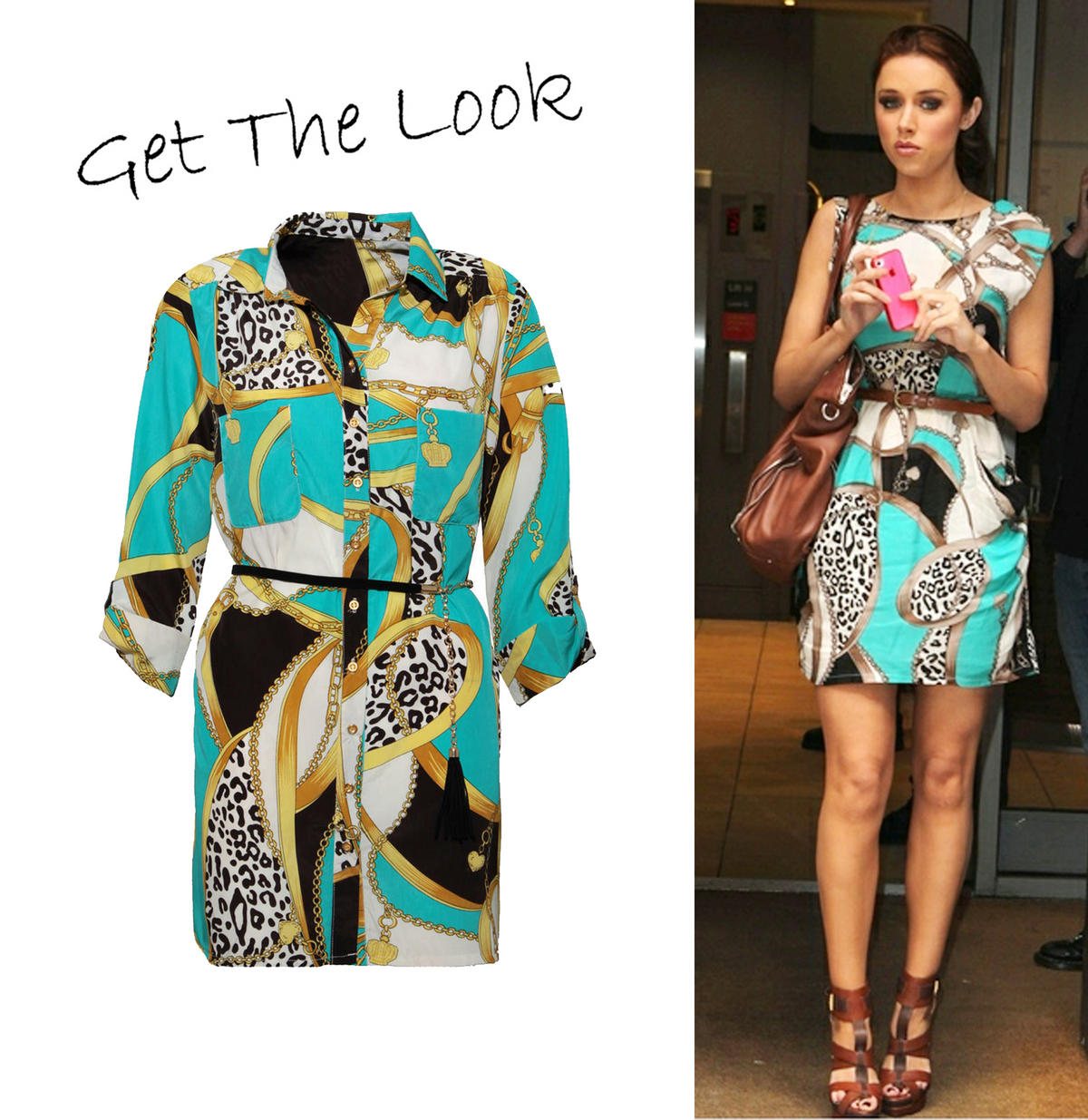 Turquoise Chain Print Shirt Dress Preview